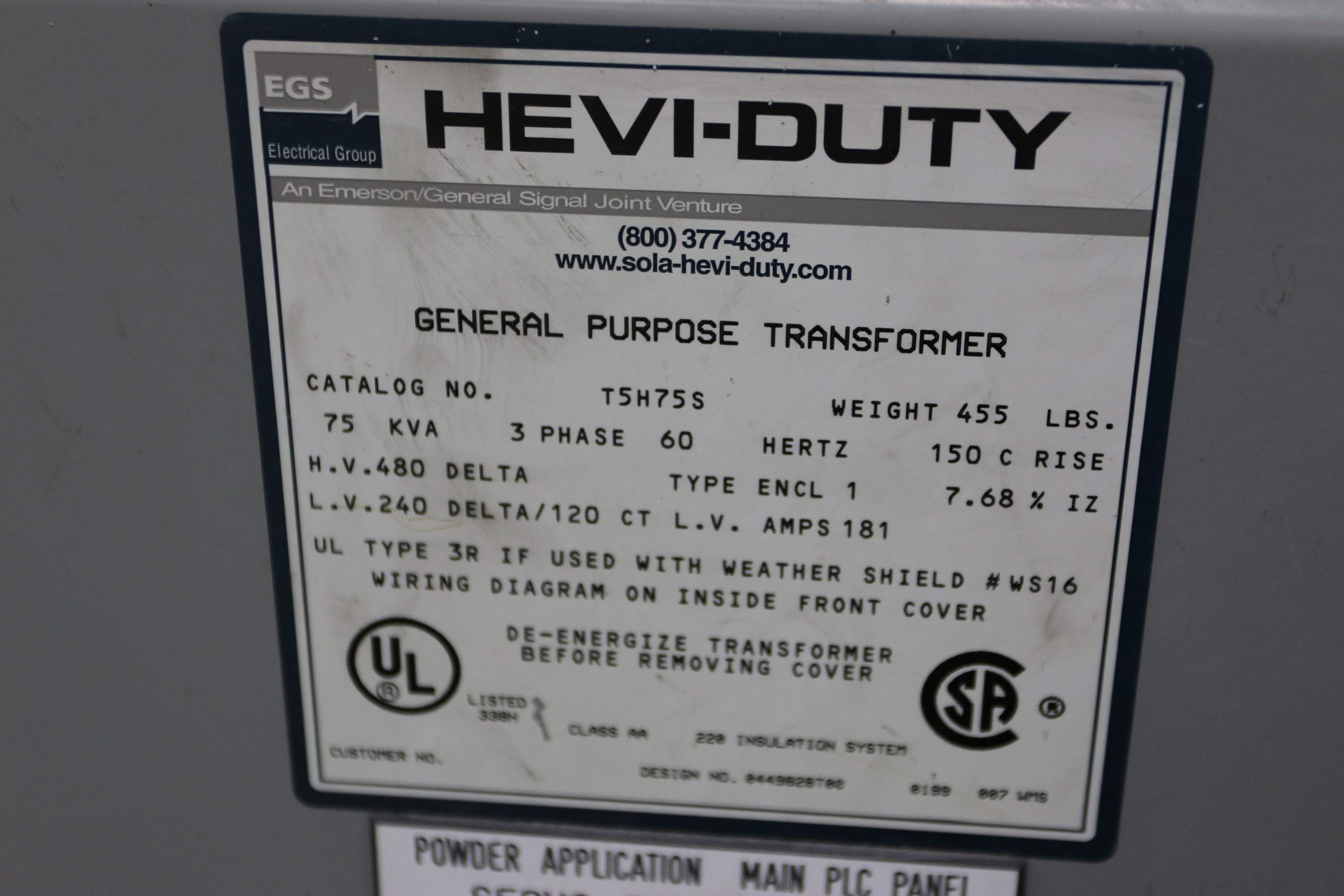 75 Kva 480v 240v Egs Hevi Duty General Purpose Transformer Stock 69806 To Wiring Diagram Yms Photo