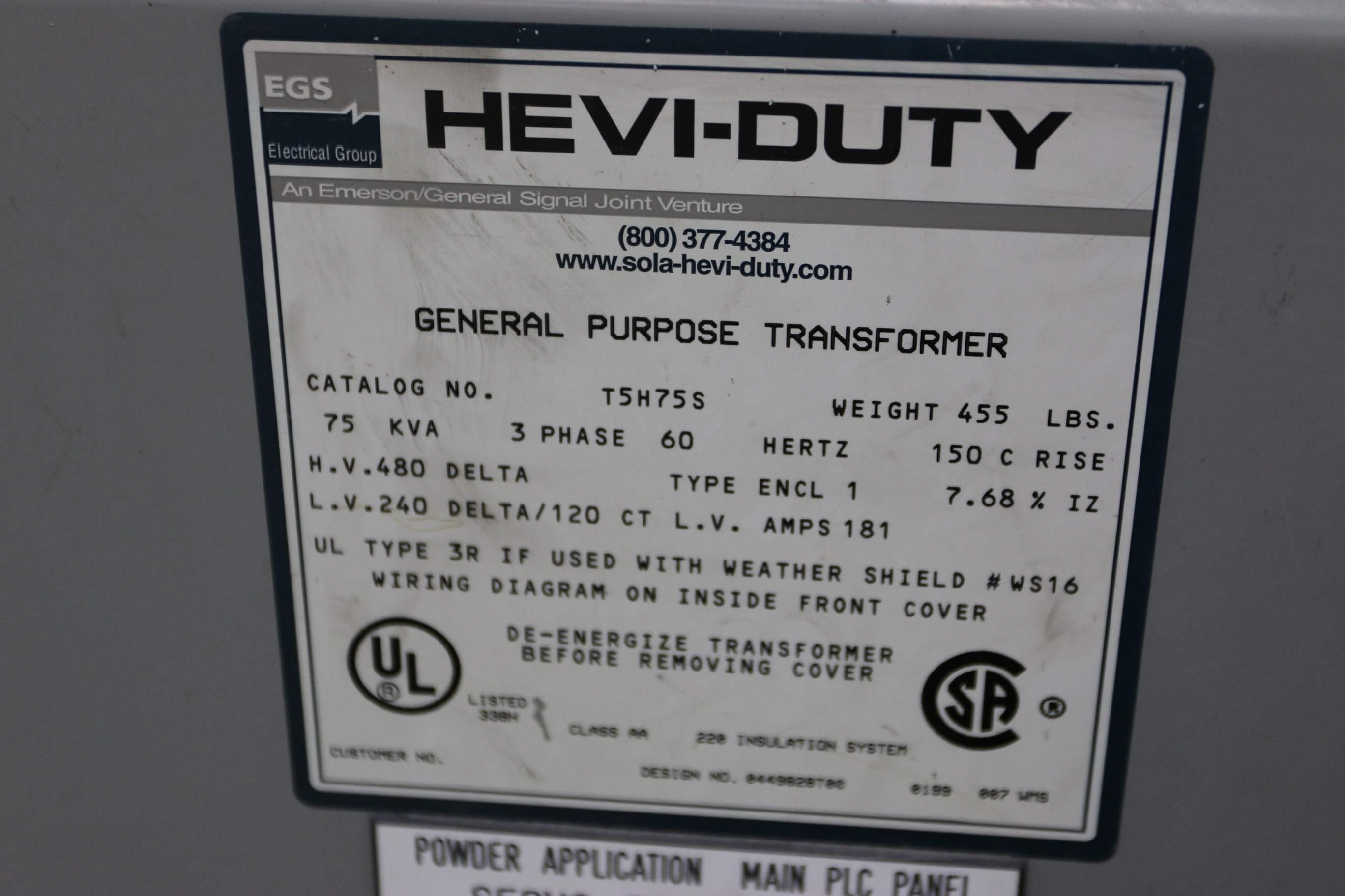 75 Kva 480v 240v Egs Hevi Duty General Purpose Transformer Stock 69806 480 Delta Wiring Diagram Yms Photo